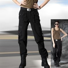2014 New Cotton high quality outdoor Army fans multi pocket wide leg women army fatigue pants women's army cargo pants Black-in Pants & Capr...