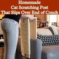 Homemade Cat Scratching Post That Slips Over End of Couch Homesteading  - The Homestead Survival .Com
