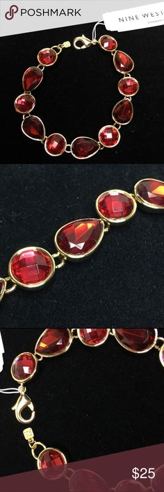 "🆕NWT Nine West Gold &  Red Faceted Stone Bracelet A 7 1/2"" Gold bracelet with red faceted glass stones in varying shapes. New, never worn. Absolutely gorgeous. These stones look like they are lit from within. One of those pieces you'd love to keep for yourself❤️ Nine West Jewelry Bracelets"