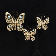 NETTIE ROSENSTEIN Butterfly Brooch and Earring Demi by KatsCache, $549.95