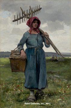 Julien Dupré (1851 - 1910) Faneuse Olio su tavola 13 3/4 x 9 1/2 pollici Firmato e datato 1886