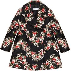Black flower-printed coat made of 32% silk. Synthetic lining. Two button straps on the front. Side pockets.