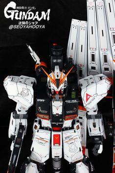 Neo Grade Nu Gundam - Customized Build Modeled by Seoyahooya Frame Arms, Gunpla Custom, Gundam Model, Mobile Suit, Grade 1, Darth Vader, Japan, Building, Sci Fi