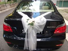 White decorations #wedding car ... Wedding ideas for brides, grooms, parents…