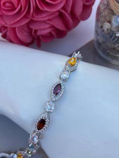Bracelet en argent 925, cubiques zirconium et pierre synthétique Zirconium, Pandora Charms, Bracelets, Tennis, Jewelry, Lobster Clasp, Stone, Jewlery, Jewerly