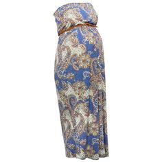 M&Co Maternity Paisley Print Strapless Maxi Dress (€33) ❤ liked on Polyvore featuring maternity, dresses and cobalt