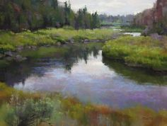 "https://www.facebook.com/MiaFeigelson ""Crooked river"" By Phil Bates, from Roseburg, Oregon, US (b. 1954) - soft pastel painting; 12 x 16 in - Phil Bates has been painting with soft pastels since 2005 https://www.facebook.com/PRBates"