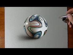 Drawing Time Lapse: Brazuca ball - hyperrealistic art - YouTube