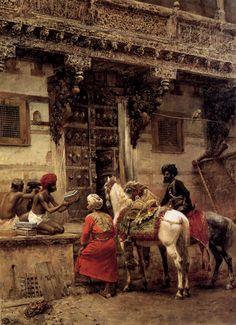 Edwin Lord Weeks (1849-1903)  Craftsman Selling Cases By A TeakWood Building, Ahmedabad