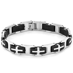 Add modern edge to any outfit with this dual material men's bracelet. This handsome piece features alternating rubber and highly polished stainless steel links that create a one-of-a-kind look, securely enclosing with a hidden clasp.