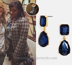 Mindy has earrings to match every outfit! /// BaubleBar 'Diva' Drop Earrings - $28 Worn with Theory jacket, Equipment shirt and Alice + Olivia skirt