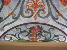 barrel ceiling trompe l'oeil stain glass mural