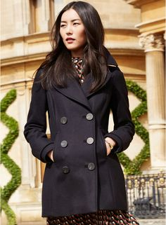 Next Navy Blue Solid Peacoat