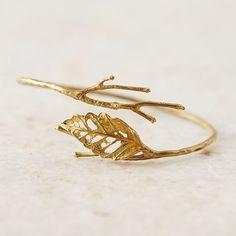 Gold Lace Leaf Brass Cuff   Gold Bracelet   Rustic Jewelry   Boho Jewelry