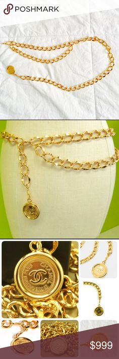 """Authentic Vintage Chanel Gold Chain Belt/Necklace Authentic & Vintage. Pristine condition. No discoloration or signs of wear. Shopping bag, camellia flower, ribbon, box, & travel pouch included. The entire length of the chain is 33"""". CHANEL Jewelry Necklaces"""