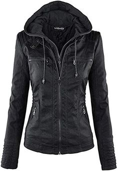 online shopping for Lock Love Women's Hooded Faux Leather Moto Biker Jacket from top store. See new offer for Lock Love Women's Hooded Faux Leather Moto Biker Jacket Leather Jacket With Hood, Vegan Leather Jacket, Faux Leather Jackets, Pu Leather, Leather Coats, Leather Collar, Real Leather, Leather Hoodie, Black Leather