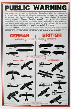 A British poster helps civilians identify friendly and enemy airplanes and airships.