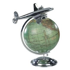 "Features:  -Hand cast aluminum.  -Replica of 1950's travel agent's globe.  -Polished finish.  Product Type: -Tabletop & Desk Globes.  Design: -Political.  Style: -Contemporary.  Globe Diameter: -9"" -"