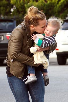 Splendid Littles! Hilary Duff and husband Mike Comrie shower little Luca with attention as they head into Bristol Farms