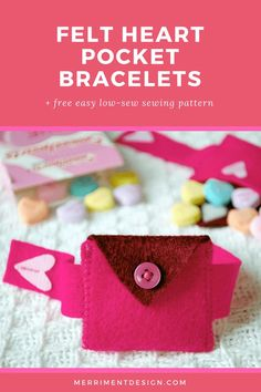 This felt heart pocket is perfect for storing heart candies or tiny love notes. This DIY low-sew project is easy and fast enough to make a Valentine's Day treat for a whole class of kids!