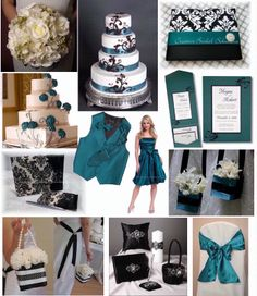 This is a good idea. I like damask but don't want black n white wedding so adding a bright color is a good idea. I like teal but I like green too.. Hmmm..