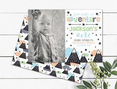 Adventure boy birthday invitation mountain theme hipster Photo Birthday Invitations, Custom Invitations, Birthday Cards, Mountain, Hipster, Printables, Adventure, Boys, Handmade Gifts