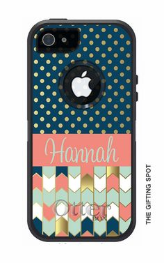 Monogrammed OtterBox Commuter Phone Case, Personalized OtterBox, iPhone 6, iPhone 5/5S, iPhone 5C, iPhone 4/4S, Galaxy s5, Preppy Gold