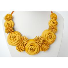 Yellow Leather Necklace- Handmade Statement Jewelry- Floral Bib... ($53) ❤ liked on Polyvore featuring jewelry, necklaces, yellow flower necklace, rose flower jewelry, floral necklace, flower bib necklace and rose necklace