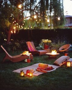 Lounge chairs in garden at dusk