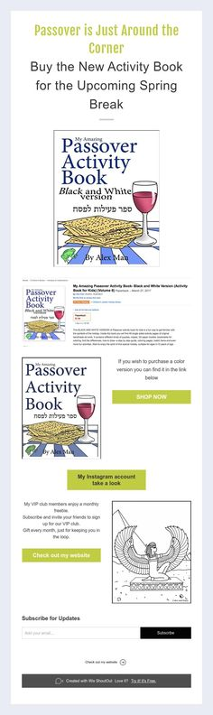 Passover is Just Around the Corner Buy the New Activity Book for the Upcoming Spring Break