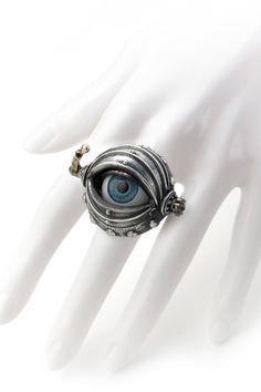 Steel Master Silver Punk Eye Ring   Rings at DEZZAL
