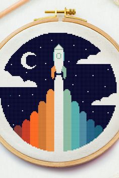 Excited to share this item from my #etsy shop: Space Rocket to the moon cross stitch pattern, Night sky embroidery design, Stars counted cross stitch Night xstitch beginner needlepoint #crossstitchpattern #easycrossstitchpattern #moderncrossstitchpattern #crossstitchpatternforbeginner #simplecrossstitchpattern #freecrossstitchpattern #modernembroideryscheme #crossstitchscheme #crossstitchchart #crossstitchtext #crossstitchquote #sleepingbabypdf #rocketspacexstitch #spaceembroidery… Cross Stitch Beginner, Small Cross Stitch, Cross Stitch Moon, Baby Cross Stitch Patterns, Cross Stitch Charts, Cross Stitch Quotes, Space Rocket, Cross Stitching, Easy Cross
