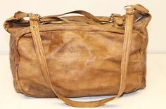 DISTRESSED Vintage Leather Messenger Duffle Patina Worn Carry-on Travel Bag ~.