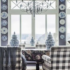 I'll mix up levels of shininess, colour, texture, pattern things that anchor the room and make a space inviting and intriguing. White Houses, House Styles, Decor, Interior Design, Home Lighting, Home, Interior, Blue And White, Home Decor
