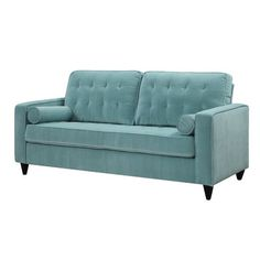 Bring midcentury inspiration to your living room or den with this streamlined sofa, showcasing button-tufted upholstery in turquoise. Linen Upholstery Fabric, Furniture Upholstery, Find Furniture, Living Room Furniture, Tufted Sofa, Sectional Sofa, Couches, Take A Seat, Love Seat