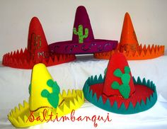 SALTIMBANQUI COTILLÓN EN CORDOBA: Mexicana Crazy Hat Day, Crazy Hats, Mexican Crafts Kids, Diy For Kids, Crafts For Kids, Purim Costumes, Fiesta Colors, Mexican Hat, World Crafts