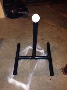 DIY tee ball stand with plumbing pipes