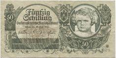 50 Schilling 1945 (Kinderportrait) Österreich Zweite Republik Central Europe, Retro, Portrait, Austria, Vintage World Maps, Coins, Banknote, History, Vienna
