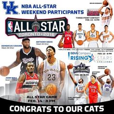 NBACats in Rising Stars Challenge: KAT - 18 pts, 7 rebs and 4 assts. Devin Booker - 23 pts (five 3s). Trey Lyles - 2 pts, 2 rebs.....Reminder: Devin Booker is the youngest player in the NBA.