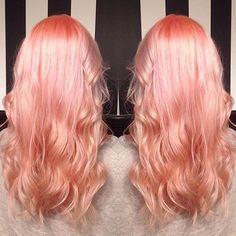 Pastel Peach Hair! Hair by the Mermaidian Of January: @kisskasshair…