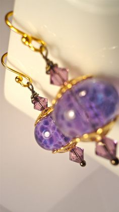 Cleopatra Artisan Glass Bead Earrings with Gold