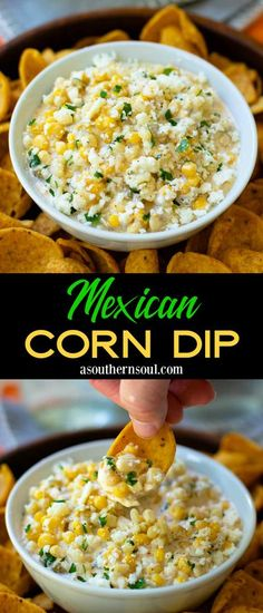Inspired by Mexican street corn, this easy to make dip is guaranteed to a hit at your next party or gathering! Mexican Corn Dip is creamy, cheesy with just the right amount of spice from chilies. Add a pop of fresh-squeezed lime and you've got a party in every bite. Corn Dip Recipes, Easy Appetizer Recipes, Mexican Food Recipes, Snack Recipes, Dinner Recipes, Cooking Recipes, Mexican Food For Party, Dip Recipes For Parties, Appetizer Dips