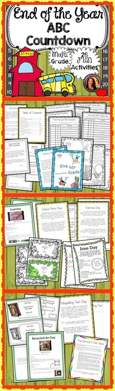 Keep students engaged and excited for the last 26 days of school!  A different, simple ABC themed activity is included for each day!  Everything from classroom friendly recipes to art projects.  Your students will LOVE it!  Letters to parents are included in English and Spanish!