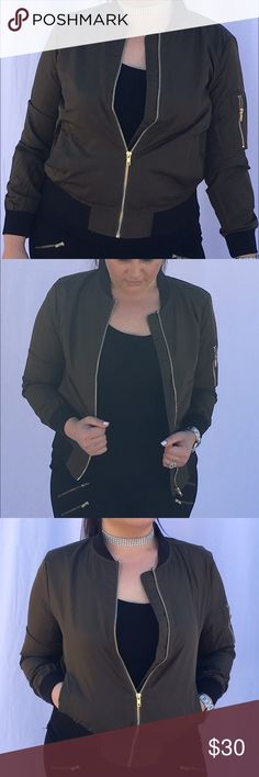 Green bomber jacket. NWT NOT FROM BRAND LISTED, ONLY USED FOR EXPOSURE! Lightweight army green bomber jacket. Pair it with our diamond choker, also for sale. Bundle and save 10%     NWT Zara Jackets & Coats
