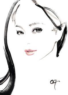 Bijinga Paintings by Takeshi Ohgushi Fashion Illustration Face, Beauty Illustration, Jewelry Illustration, Art Illustrations, L'art Du Portrait, Watercolor Portraits, Drawing Portraits, Sketch Painting, Woman Drawing