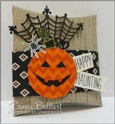 Sparkly Seasons Pillow Box, favor, Treat, pumpkin, Halloween, Cheer All Year, Stampin' Up!, #stampinup, created by Connie Babbert, www.inkspiredtreasures.com