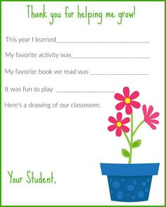 Teacher Appreciation Week Printable Thank You Note  Appreciation