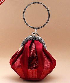 Unique Designer Satin Sequins Working Rhinestones Rhinestone Handbags / Clutches (HDB-024)