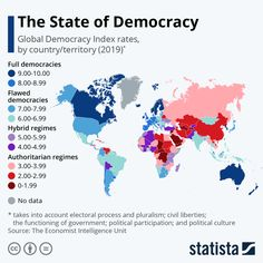Infographic: The State of Democracy Around the World United Nations Peacekeeping, Political Participation, Political Culture, World Data, Gender Inequality, Political System, Cartography, Countries Of The World, Military History