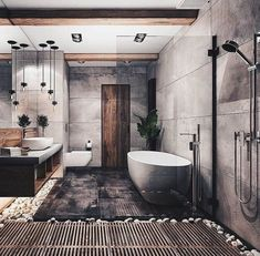 Bathroom Goals ♥👌 Tag friends 👥 Render by Are you looking for a support for your interior and and architectural visuals ? Contact us at email 📩 We would love to help you making your projects looking great ! Start tag be featured in our gallery ✔ Modern Bathroom Design, Bathroom Interior Design, Modern House Design, Bathroom Designs, Industrial Bathroom Design, Modern Bathtub, Cabin Design, Nordic Design, Modern Industrial